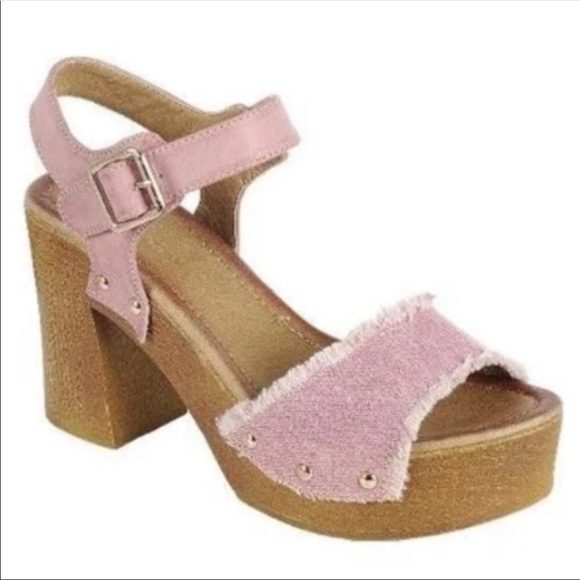 65c63fdbe Frayed Pink Denim Platform Sandals